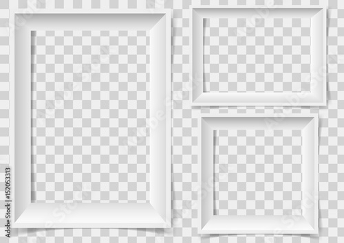 Fototapeta White picture frame with shadows isolated on vector transparent background. obraz