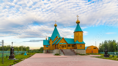 Wooden Orthodox church New Martyrs and Confessors Russian before painting Wallpaper Mural