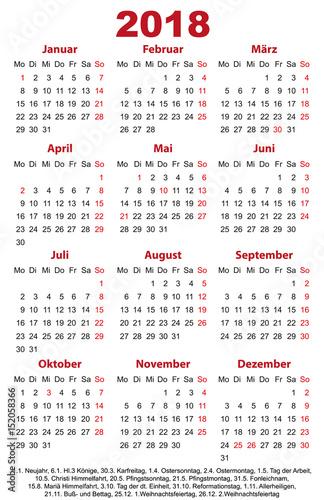 Fototapeta Visitenkarten 2018 Jahreskalender Vorlage