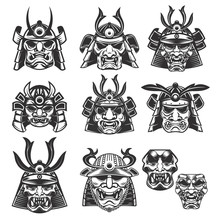Set Of Samurai Masks And Helme...