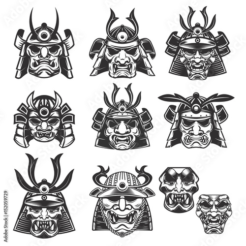 Photo  Set of samurai masks and helmets on white background