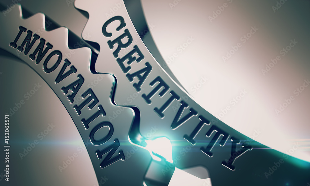 Fototapety, obrazy: Creativity Innovation on Mechanism of Metal Cog Gears with Lens Flare - Business Concept. Text Creativity Innovation on Shiny Metal Gears - Interaction Concept. 3D Illustration .