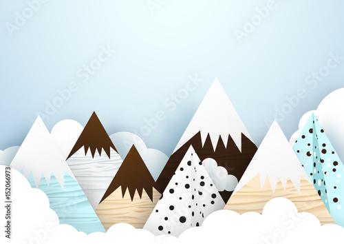 papierowa-sztuka-i-styl-origami-tlo-z-gorami-i-chmurami