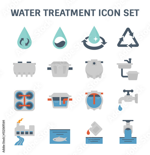 Valokuva  Water treatment plant and septic tank vector icon set.