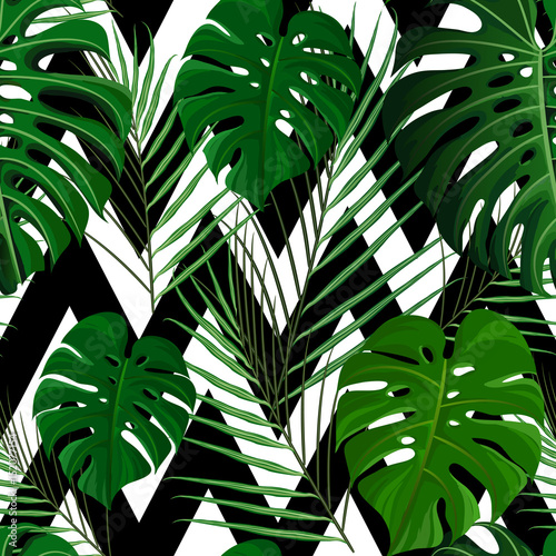 Türaufkleber Künstlich Tropical seamless pattern with exotic palm leaves.