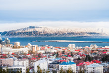 Beautiful View Of  Reykjavik Winter In Iceland Winter Season With Snow-capped Mountain In The Background, Reykjavík Is The Capital City Of Iceland.with Snow-capped Mountain In The Background.