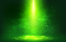 Green Smoky Light With Particl...