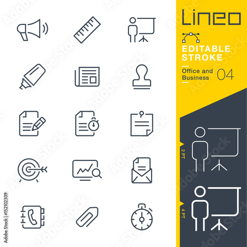 Obraz Lineo Editable Stroke - Office and Business outline icons.