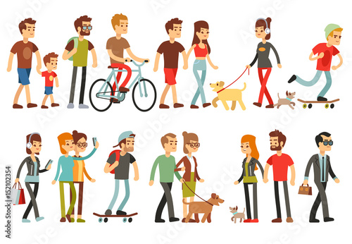 Women and men in various lifestyles. Cartoon characters vector set