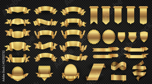 Pinturas sobre lienzo  Wrapping gold banner ribbons, elegant golden design elements