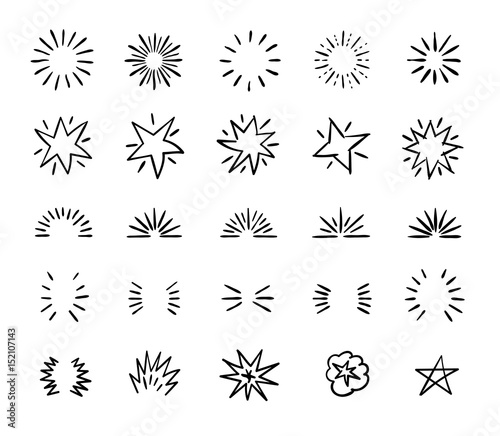 Fotografie, Obraz Elegant ink brush circle bursts and whimsical borders