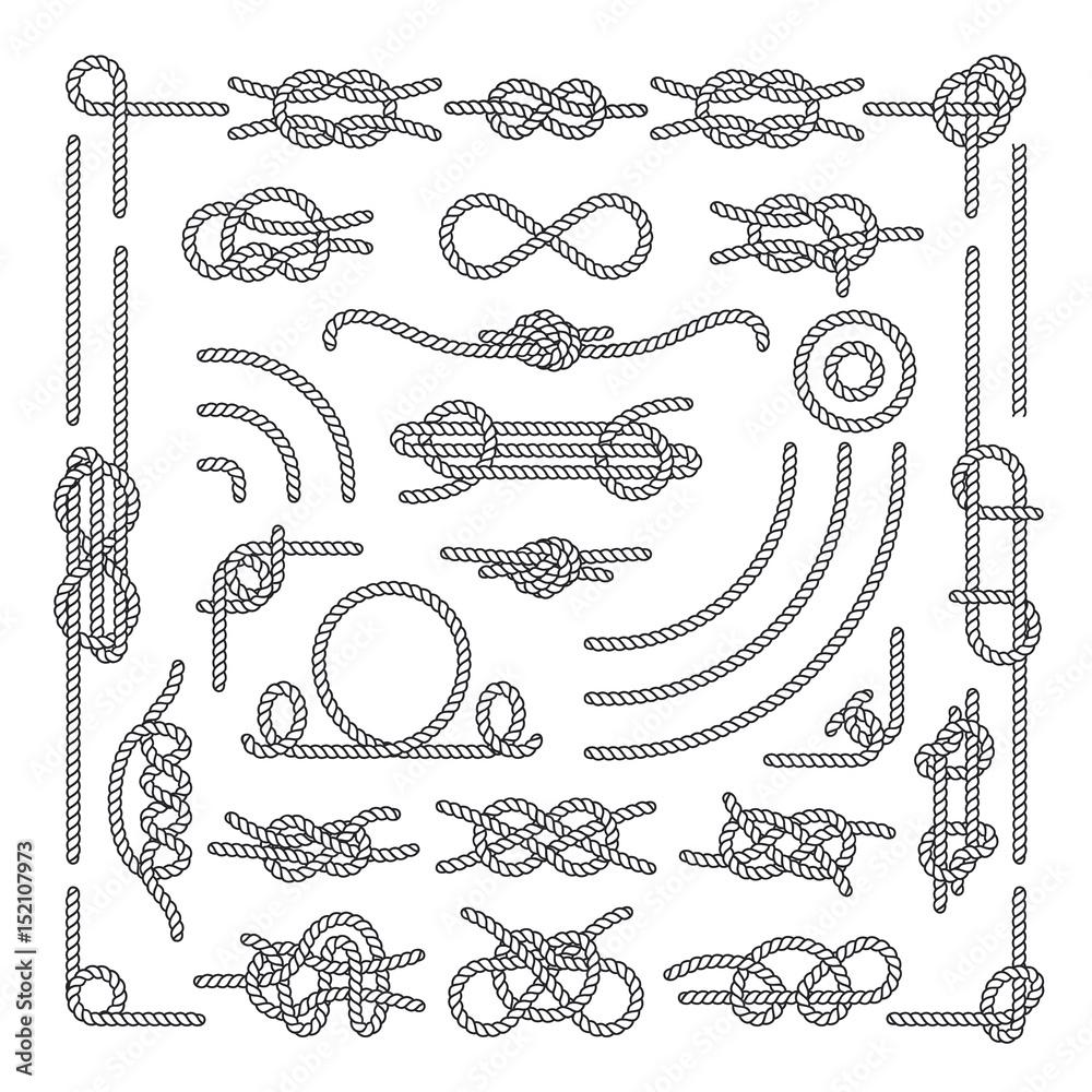 Fototapety, obrazy: Nautical rope knots vector decorative vintage elements