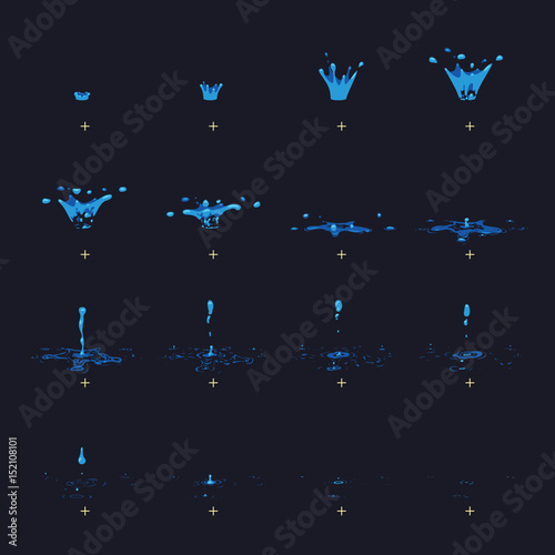 Valokuva  Cartoon vector water splash with drops fx animation frames sprite sheet