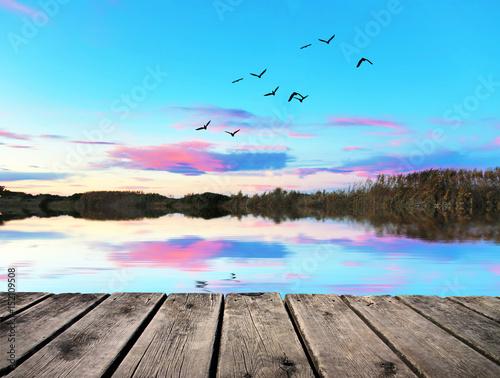 Poster Bleu amanecer azul en el rio