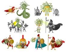 Medusa Gorgon Mythology Greek Monster Against Perseus Hero And Decapitation