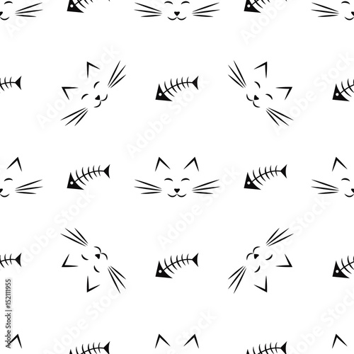 seamless pattern with cats and fish bones Wallpaper Mural