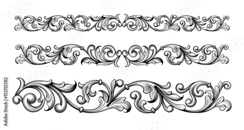 Vintage Baroque Victorian Frame Border Monogram Floral Engraved Scroll Ornament Leaf Retro Flower Pattern Decorative Design