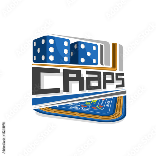 Photo Vector logo for Craps gamble: pair blue dice cubes with combination five and six, inscription title text - craps, abstract icon with playing table for gambling game, symbol of craps for casino club