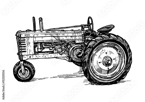 Photo Vector drawing of tractor stylized as engraving