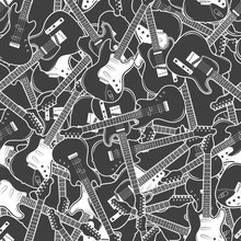 Electric Guitars Seamless Pattern. Black And White Music Background. Vector Illustration