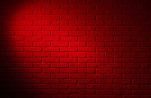 Dark Red Brick Wall With Light...