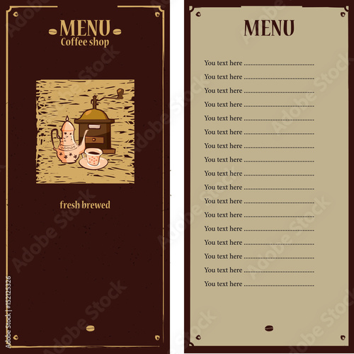 Coffee Menu Template With Grinder Pot Cup