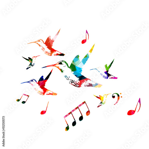 Poster Geometric animals Colorful hummingbirds with music notes isolated vector illustration