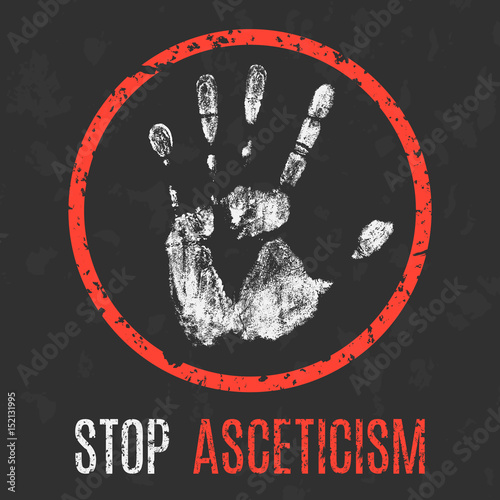 Vector. Social problems of humanity. Stop asceticism. Canvas Print