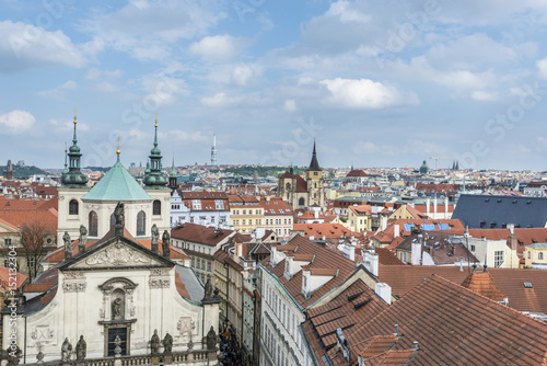 Aerial view of Old Prague, red tiled roofs, Czech Republic. Poster