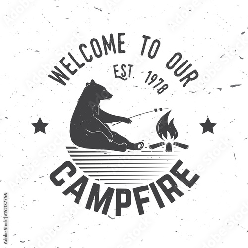 Spoed Fotobehang Halloween Welcome to our campfire. Vector illustration.