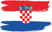 Croatia Flag Vector Hand Paint...