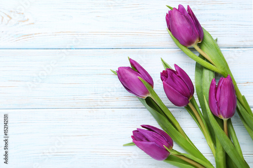 Poster Tulp Bouquet of tulips on a white wooden table