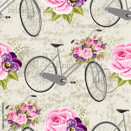 Tablou Canvas Seamless floral pattern