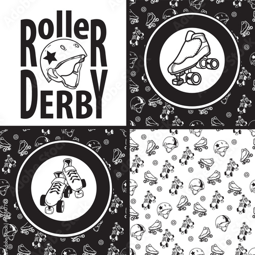 Set Of Drawings And Seamless Patterns On The Theme Of Roller Der Enchanting Roller Set Patterns