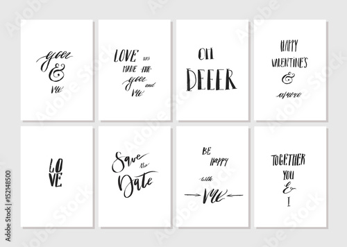 Hand Made Vector Graphic Simple Valentines Day Greeting Card Set