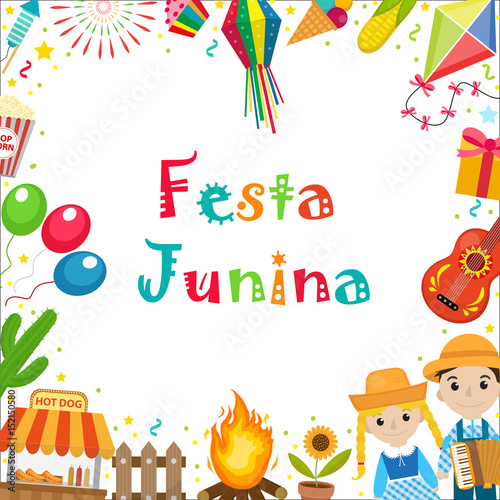 Festa Junina Frame With Space For Text Brazilian Latin American