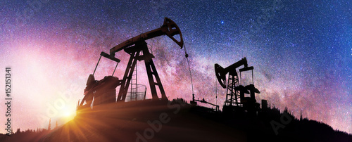 Fototapeta Pump in the background of stars in the Carpathians obraz