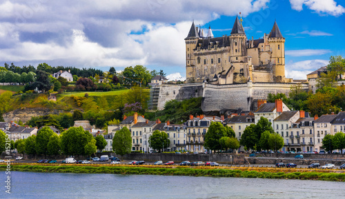 Foto  Great medieval castles of Loire valley - beautiful Saumur. France