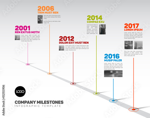 Photo  Infographic Timeline Template with pointers and photos