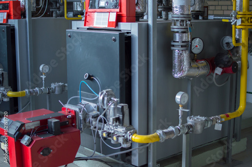 Modern high power industrial gas boilers with natural gas burners in ...