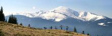 Rider Among  Fantastic Snow Peaks