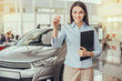 Young Woman in a Car Rental Service Assistant Concept