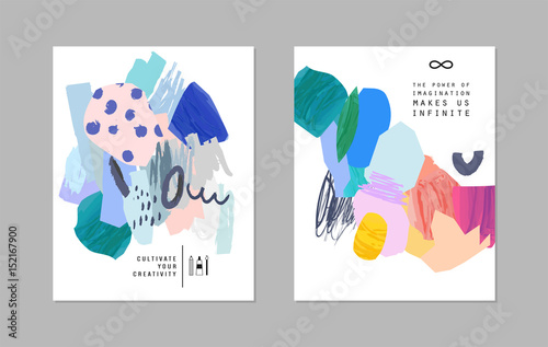 Photo  Set of creative universal art posters or cards