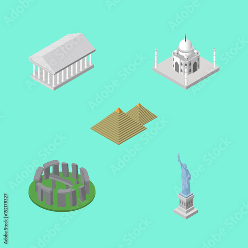 Isometric Travel Set Of Egypt , England, India Mosque Vector Objects. Also Includes Attraction, Taj, Egypt Elements.