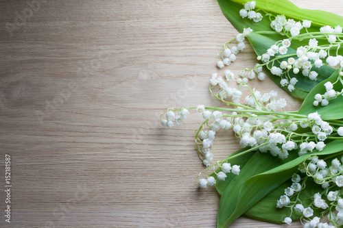Photo Stands Lily of the valley Lily of the valley wood background