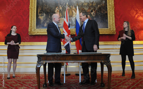 Britains Foreign Secretary William Hague And Russias Foreign