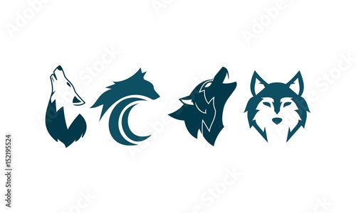 Fototapeta  Wolf Set Four Logo Template