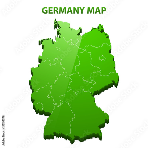 Highly detailed three dimensional map of Germany with regions border ...