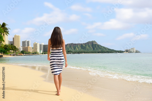 Waikiki Beach Vacation Woman Relaxing Walking On Sand At