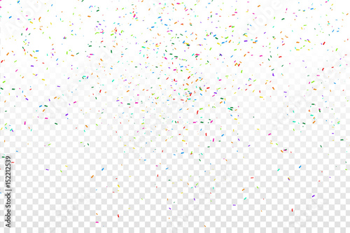 Obraz Vector realistic colorful confetti on the transparent background. Concept of happy birthday, party and holidays. - fototapety do salonu